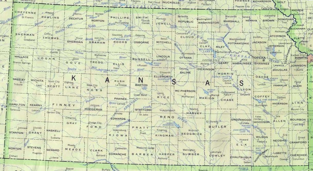 base map of Kansas state, KS reference map