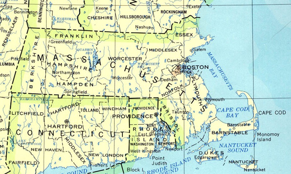 base map of Massachusetts state, MA reference map