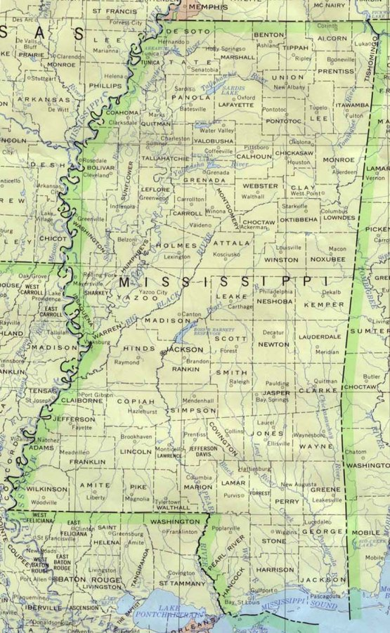 base map of Mississippi state, MS reference map