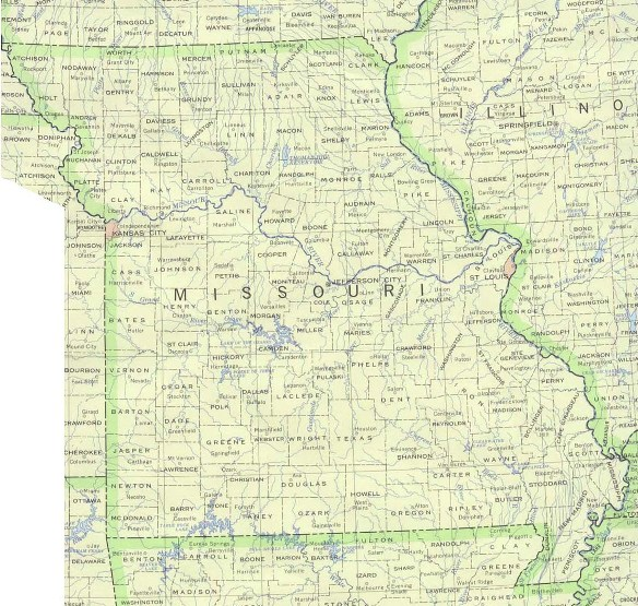 base map of Missouri state, MO reference map