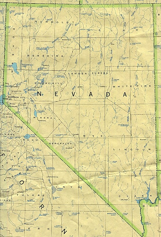 base map of Nevada state, NV reference map