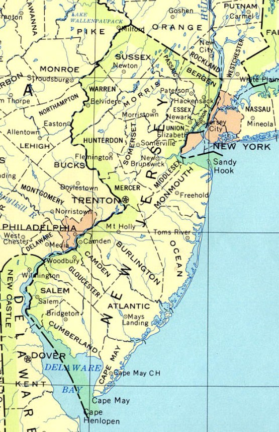 base map of New Jersey state, NJ reference map