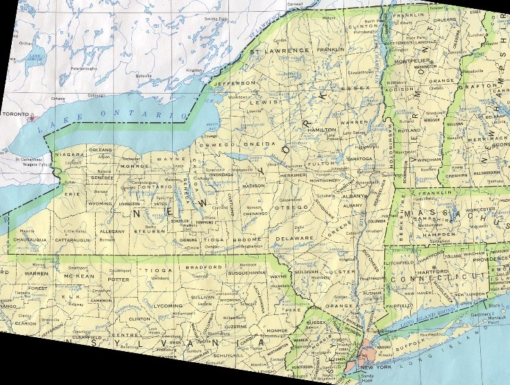 base map of New York state, NY reference map