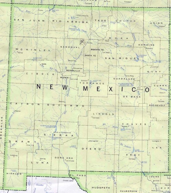 base map of New Mexico state, NM reference map