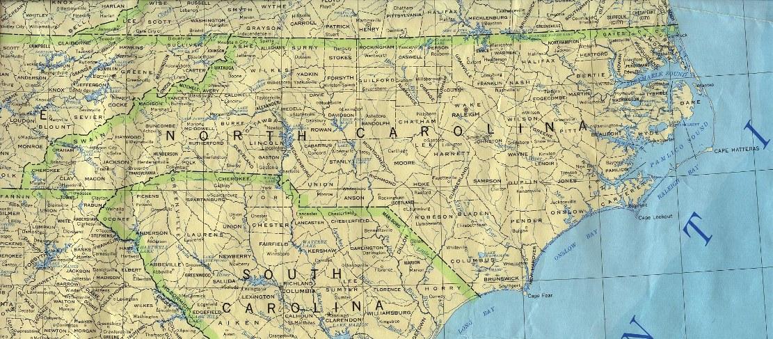 base map of North Carolina state, NC reference map