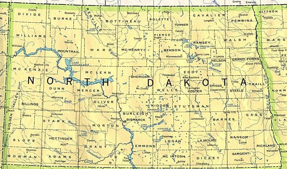 base map of North Dakota state, ND reference map
