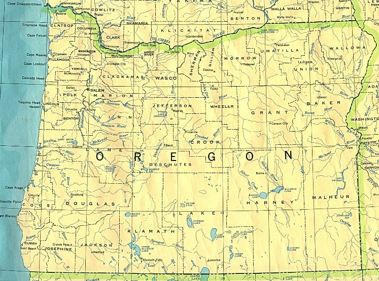 base map of Oregon state, OR reference map