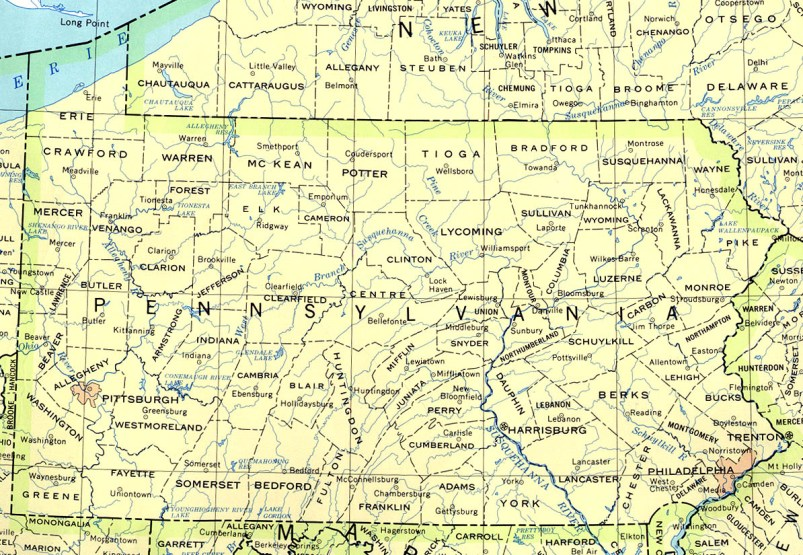 base map of Pennsylvania state, PA reference map