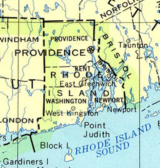 base map of Rhode Island state, RI reference map