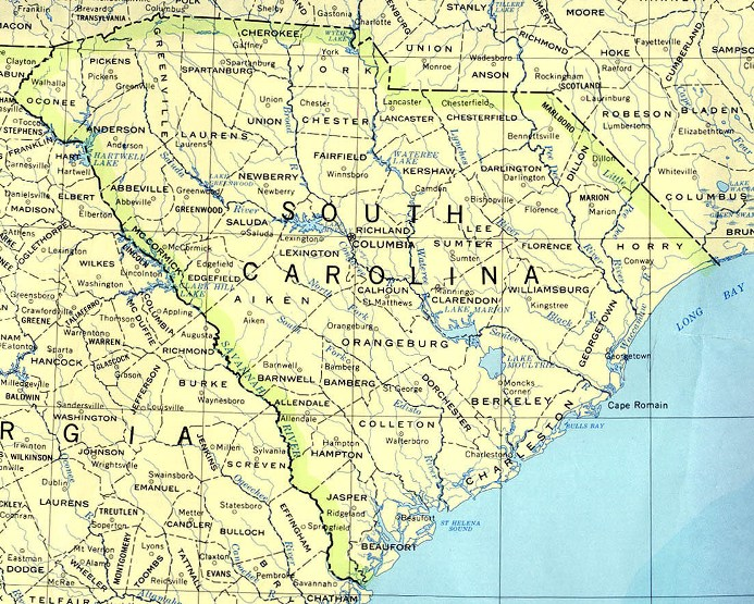 base map of South Carolina state, SC reference map