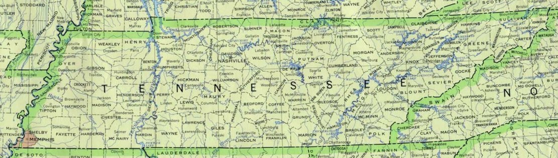 base map of Tennessee state, TN reference map