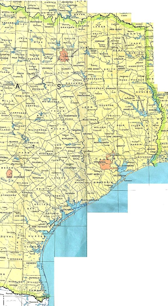 base map of Eastern Texas state, TX reference map