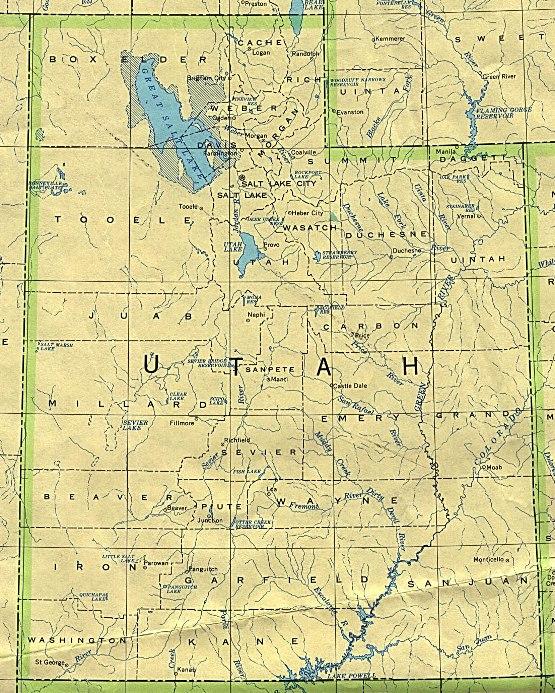 base map of Utah state, UT reference map