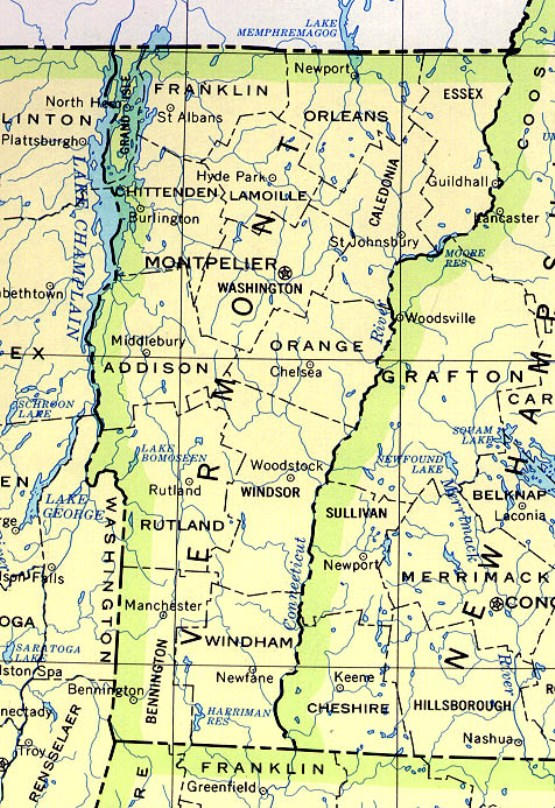 base map of Vermont state, VT reference map