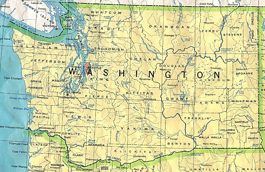 base map of Washington state, WA reference map