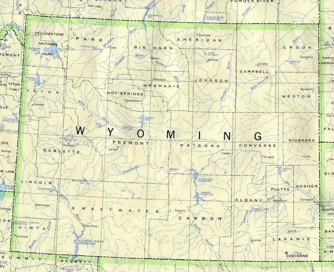 base map of Wyoming state, WY reference map
