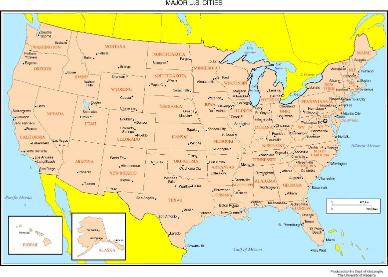 online map of United States states, USA outline map
