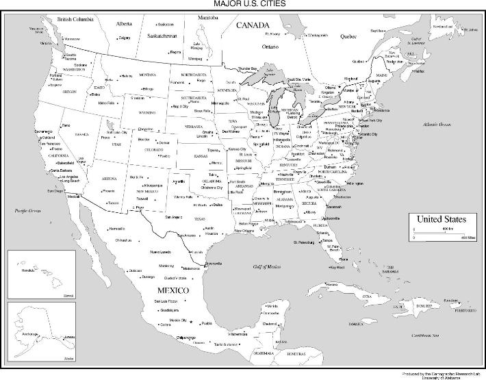 online map of United States states, USA black and white map