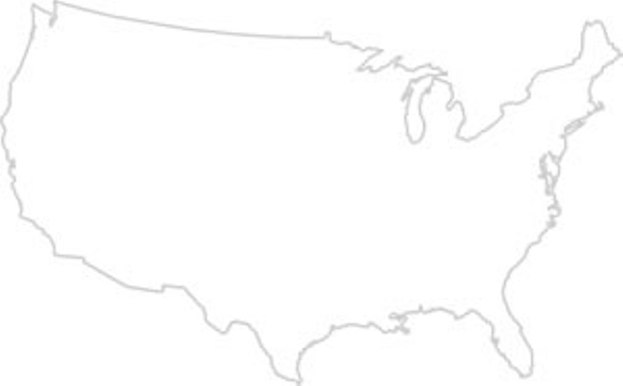 blank map of United States states, USA empty map