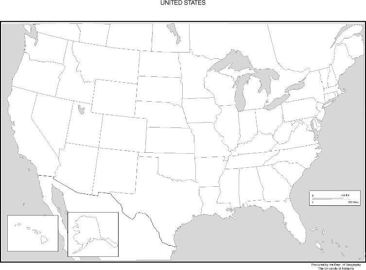 blank map of United States states, USA black and white map