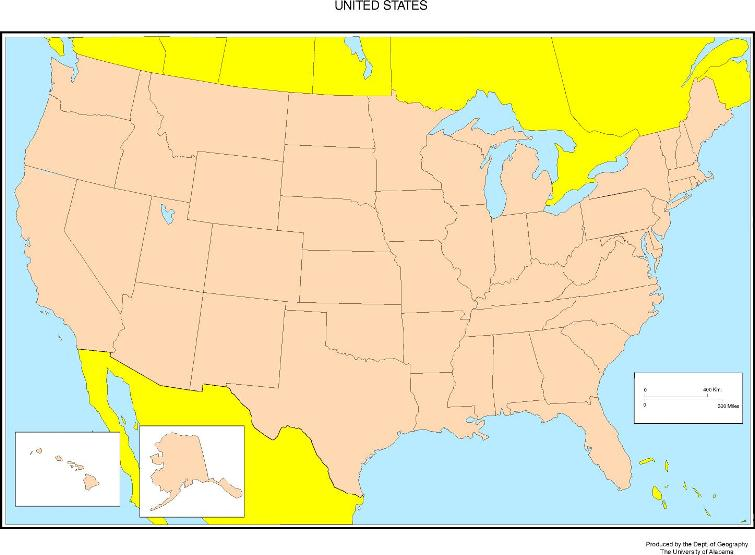 blank map of United States states, USA outline map