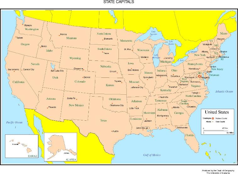 labeled map of United States states, USA color map
