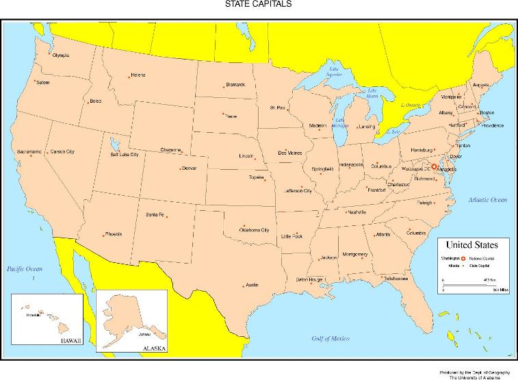 colored map of United States states, USA labeled map