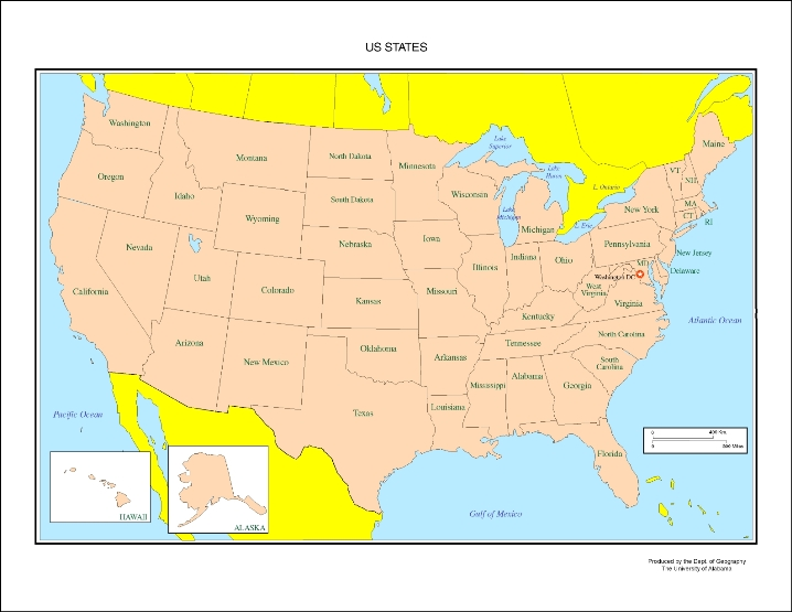 labeled map of United States states, USA outline map