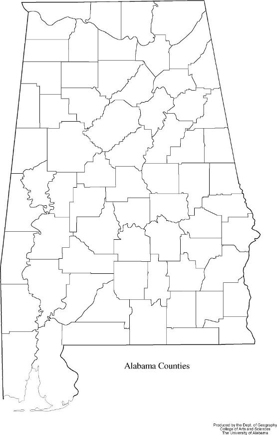 blank map of Alabama state, AL county map