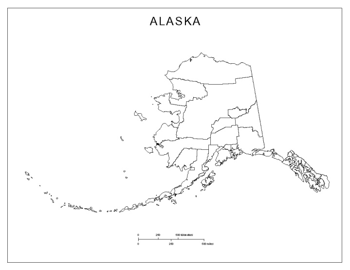 blank map of Alaska state, AK county map