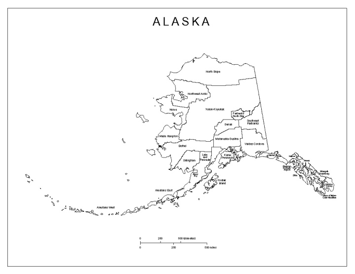 labeled map of Alaska state, AK county map