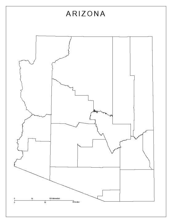 blank map of Arizona state, AZ county map