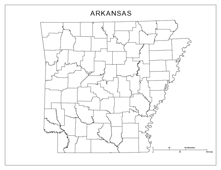 blank map of Arkansas state, AR county map