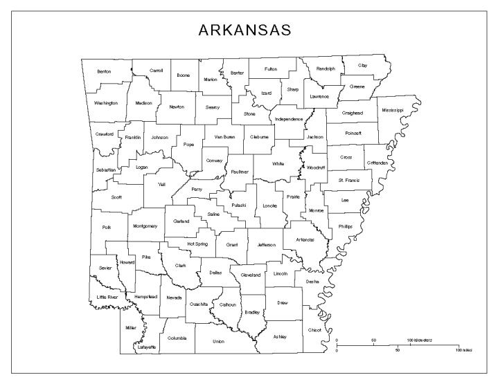 labeled map of Arkansas state, AR county map