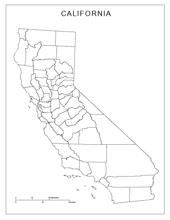 California Blank Map