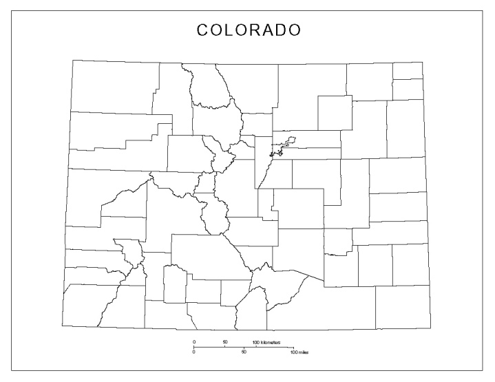 blank map of Colorado state, CO county map