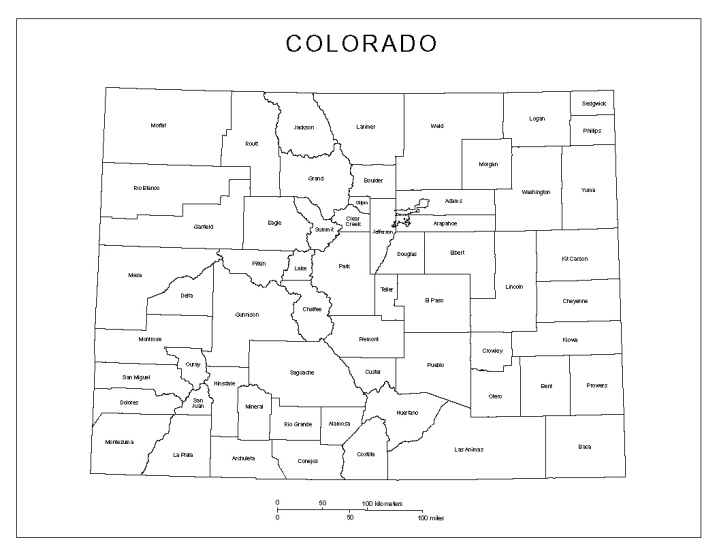 labeled map of Colorado state, CO county map