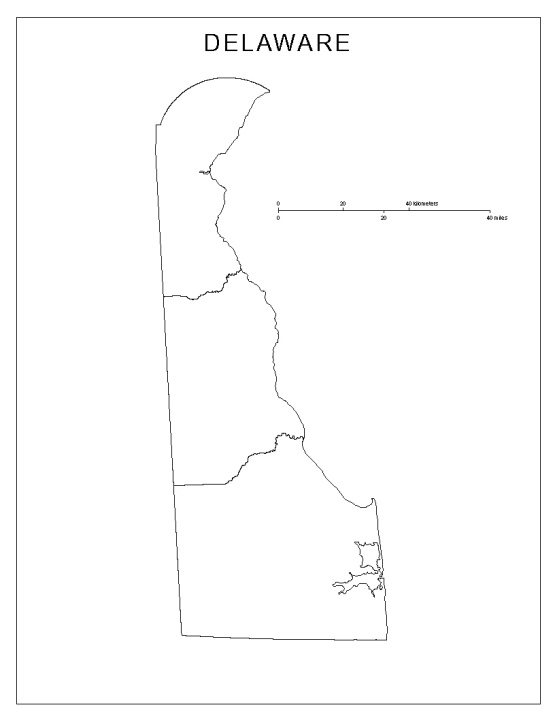blank map of Delaware state, DE county map