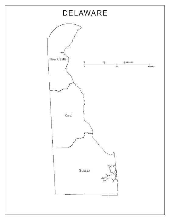 labeled map of Delaware state, DE county map