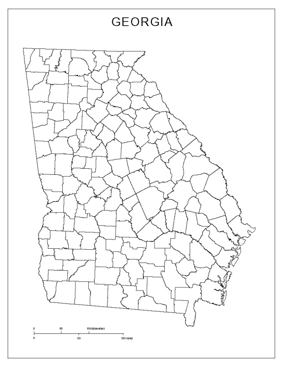 blank map of Georgia state, GA county map
