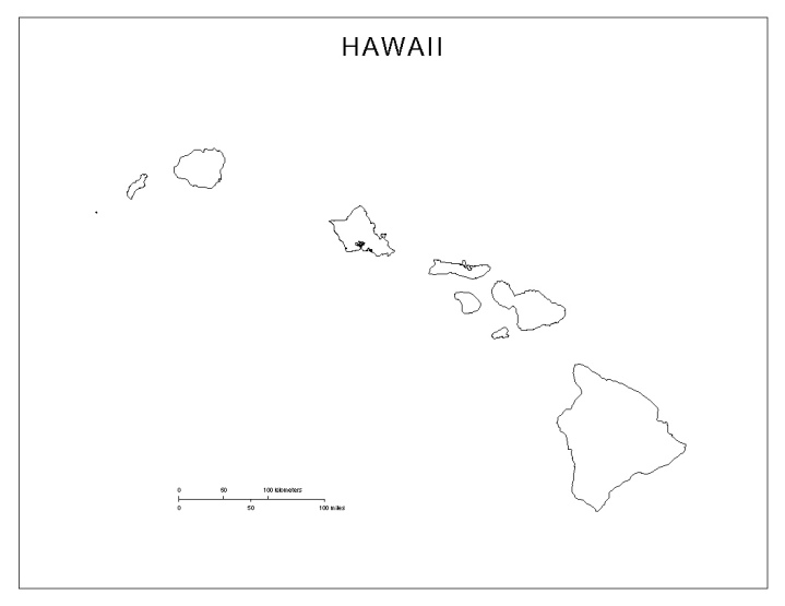 blank map of Hawaii state, HI county map
