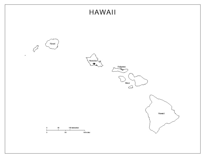 labeled map of Hawaii state, HI county map