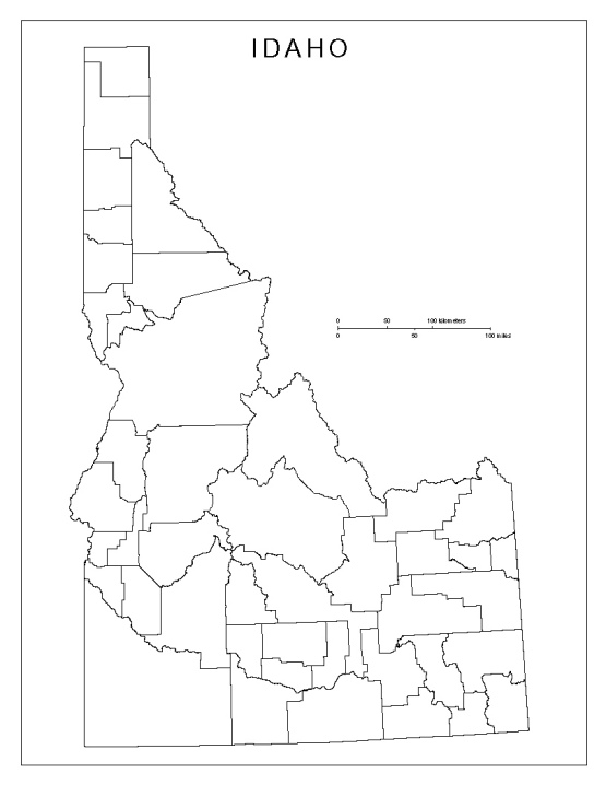 blank map of Idaho state, ID county map