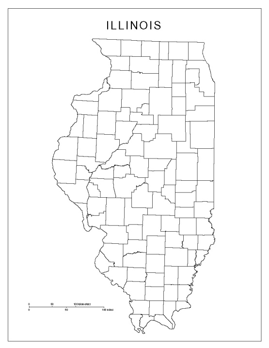 blank map of Illinois state, IL county map