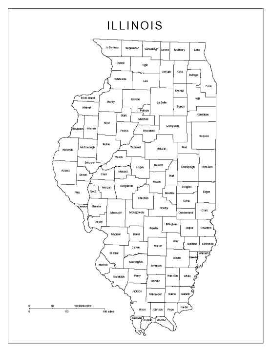 labeled map of Illinois state, IL county map