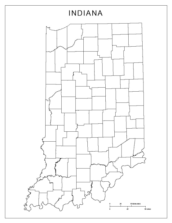 blank map of Indiana state, IN county map
