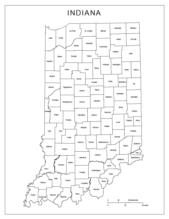 labeled map of Indiana state, IN county map