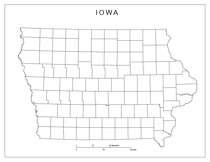blank map of Iowa state, IA county map