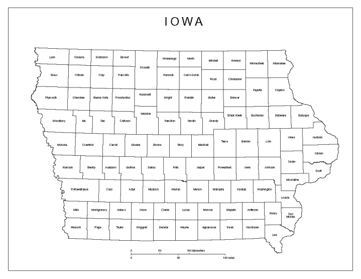 labeled map of Iowa state, IA county map