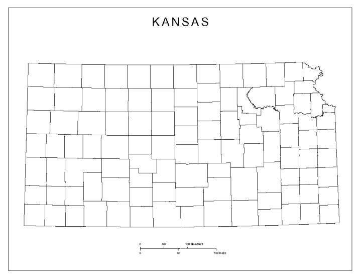 blank map of Kansas state, KS county map